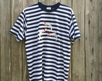 T-shirt Vintage/ 90s/ blue and white/ striped/ embroidery dolphins/ size IT 42/ UK 14/ US 10/ sailor/ cotton/ Nos/ Made in Australia