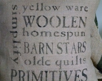 """ShabbyCountry 14""""x14"""" We do Love Our Primitives Burlap Pillow Cover"""