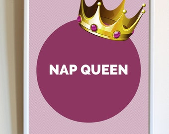 Funny Nap Queen Purple Girls Bedroom Decor Morning Sleep Quote Typography Print Poster Wall Art