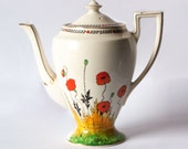 Crown Ducal Poppy Coffee Pot, 1930's English Art Deco Red Poppy Pattern Coffee Pot
