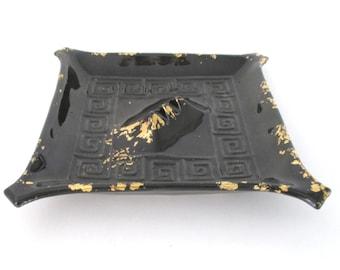 California Pottery Black With Gold Ashtray