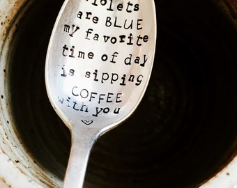 Stamped Silver Spoon, Love Poem, Gift For Him, Gift For Her, Stamped Silver, Coffee Spoon, Sweet Gifts For Her, Silver Spoon, Poem, Coffee