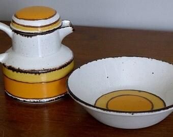 Midwinter Sun Stonehenge Stoneware Creamer & Bowl - Mid Century Modern England Pottery