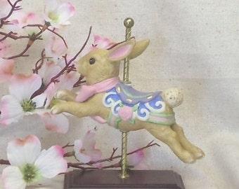 AVON Vintage Collectible,Beautiful Little Carousel Porcelain Bunny Rabbit Figurine on Metal Pole,Wood Base,1996,Antique Collectible,#VB7076