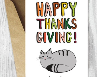 Printable Thanksgiving Cards, Happy Thanksgiving Cat Card, Card Digital Downloads, Funny Thanksgiving Cards for Cat Lovers, You're Welcome