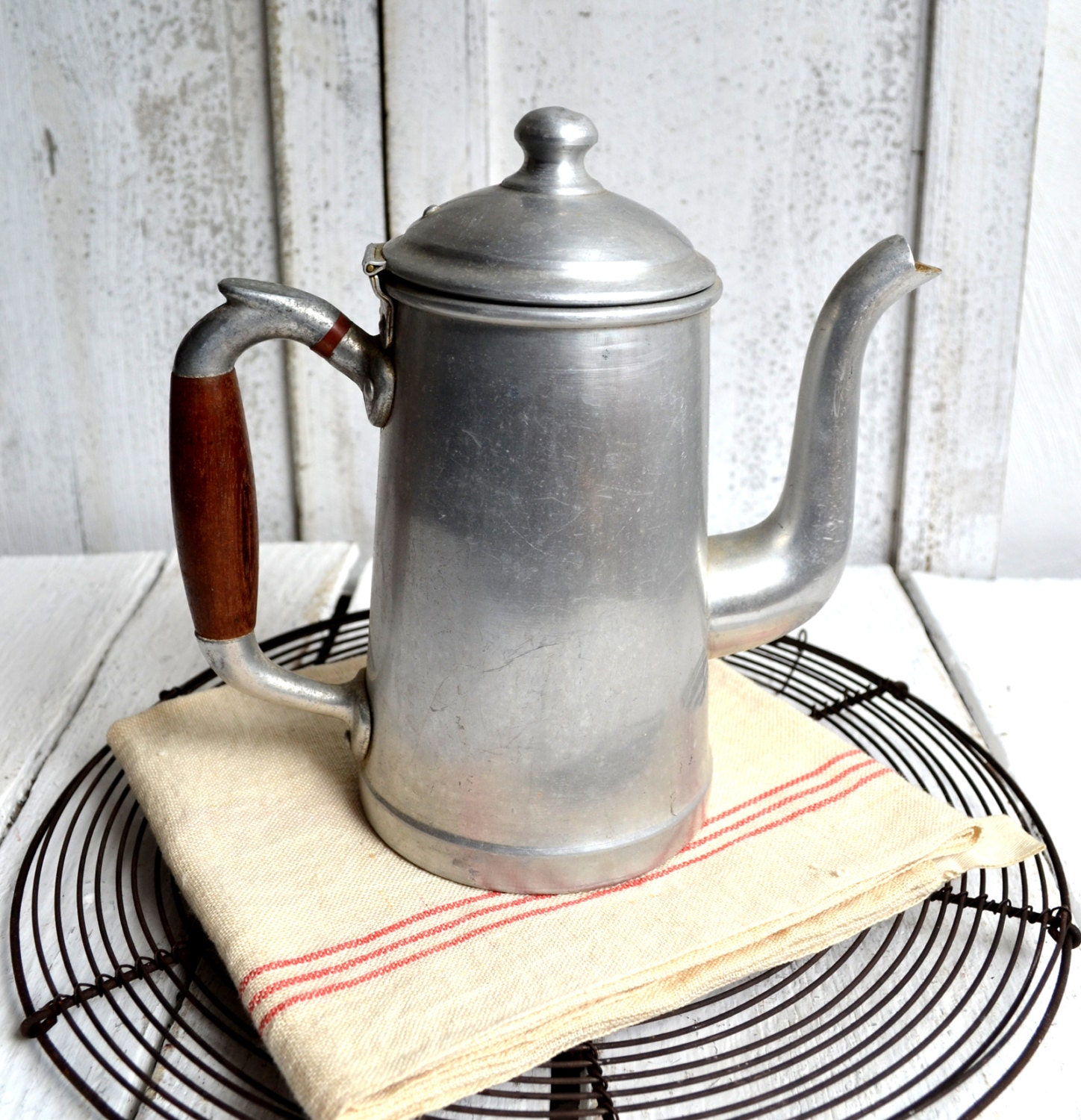 Vintage French Aluminium Coffee Pot Cafetiere
