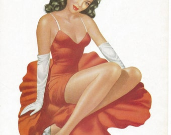 Stunning Original 1950s Double-Sided Glamour Girl/Pin-Up Print - J Pollack Prints