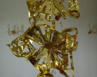 Festive decoration sheets, leaflet shiny suspended foldout gold leaf gilded decoration, vintage