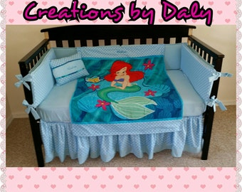 Ariel The Little Mermaid Crib BEDDING Set: Blanket, Bumper, Fitted Sheet, Crib Skirt and FREE Personalized Pillow, For Your Little PINCESS
