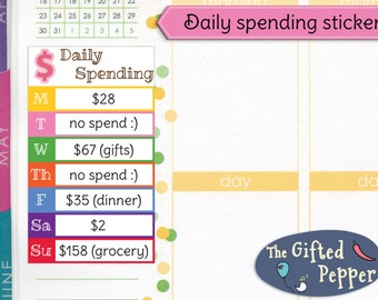 PRINTED Daily spending stickers. Expense log, budget plan, money tracker, finance, budgeting. For Erin Condren Planner. Stickers (Item #204)