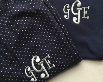Matching Set - Monogrammed Navy/Silver Polka Dot Pajama pants with Short Sleeve Tshirt!  Youth and Adult Sizes Available!  Comfy!