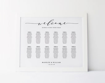 Captivating Wedding Seating Chart Template, Seating Plan, Rustic Seating Chart Poster,  Editable In Word
