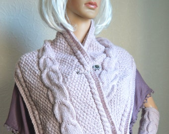 Hand knitted women scarf and arm warmers set
