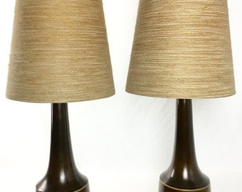 Pair of Lotte Bostlund Brown Ceramic Lamps with Original Shades
