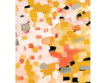 Modern colorful wall art, pink and yellow abstract painting, minimalist art print, 5 x 7