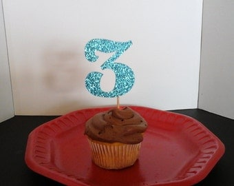 3rd Birthday  Cake Topper...3rd  Cupcake Toppers ...Set of 12...Number 3 in Glitter-choose your Color