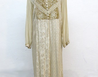 Vintage Indian Style Dress Taupe 'Victorian Era' Brand Women's Size L