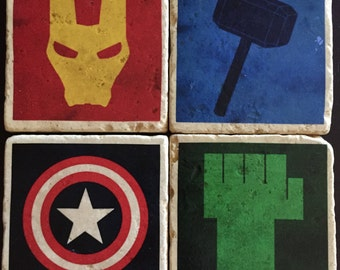 Avengers Coasters - Super Hero Coasters - Tumbled Tile Coasters - Captain America - Iron Man - Thor - Hulk - Set of 4