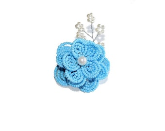 1pc Beaded Flower Hair Clip on French Barrette. Blue, White Hair Clip with Spray. Hair Accessory for Toddler Girl Teen. French Beaded Flower