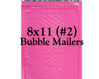 25 Hot Pink Poly Bubble Mailers/Size:8x11 (#2)/Packing Supplies/Peel and Seal