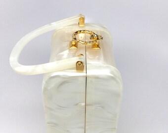 Vintage Lucite White Stylecraft Miami Bag - 50s Bride Lucite Box Bag - Pearlized Cream Ivory Lucite Bag - Stylecraft Miami Box Purse