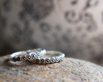 Studded Stone Stacking Ring Sterling Silver, Tiny Stone Studded Ring, Pyrite Jewelry