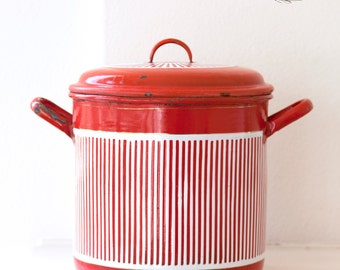 Large French Vintage Enamel Stock Pot - Art Deco 1920s -  Red and White Stripes - Free Shipping within the USA
