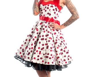 Cherry Dress Corset Dress Cherries Dress Rockabilly Dress Pinup Dress Plus Size Dress Retro Dress Swing Dress Festival Dress Party Dress