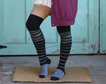 Black Thigh High Socks Scandinavian Pattern