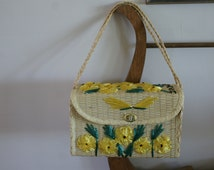 Vintage Woven Straw Basket Purse Souvenir from Guyana with Yellow Flowers Applique