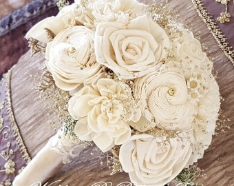Champagne Ivory Sola Bouquet, Wedding Flowers, Sola Flowers, Rustic Wedding, Alternative Bouquet, Bridal Accessories,Keepsake Bouquet, Sola