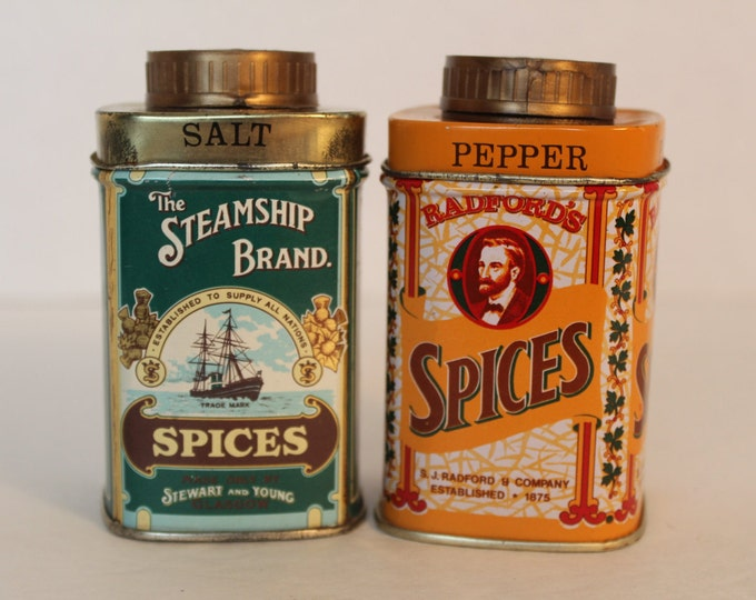 Vintage Tea Tin Spices Salt and Pepper Shakers