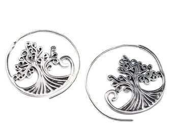 Tree Of Life Spiral White Brass Earrings handmade, Tribal Earrings, Boho Jewellery, Gift boxed, Free UK postage WB30