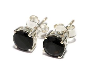 Black Onyx Gemstone Sterling Silver Stud Earrings Simple Jewellery Dainty Jewellery  Free UK Delivery Gift Boxed