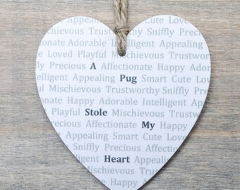 Wooden Heart Pug Dog Gift - Hanging Wooden Heart - Dog lover gift