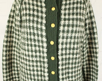 Green Cream Check Button Up Cardigan Womens Size 14
