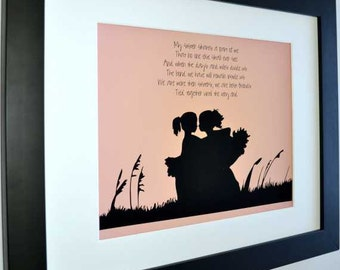 1 Gift for sisters with poem, custom sister art print, sister quote, my sister forever, sisters bond