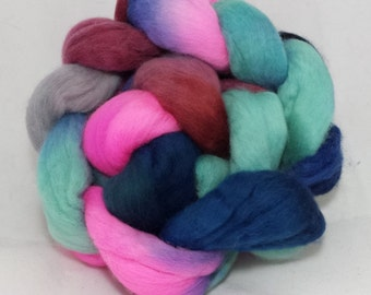 Hand dyed polwarth roving(combed top) for spinning or felting --4oz.