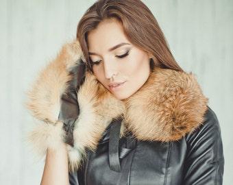 Real fox fur collar (scarf)