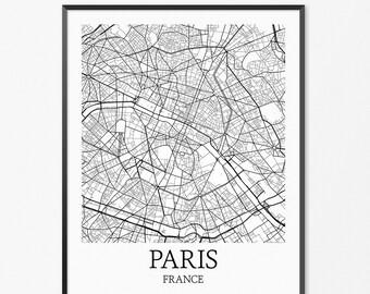 Paris Map Art Print, Paris Poster Map of Paris Decor, Paris City Map Art, Paris Gift, Paris France Art Poster