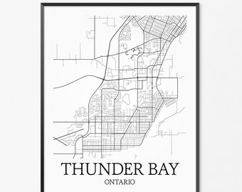 Thunder Bay Map Art Print, Thunder Bay Poster Map of Thunder Bay Decor, Thunder Bay City Map Art, Thunder Bay Gift, Thunder Bay Art Poster