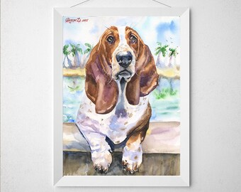 Basset Hound watercolor Print of the Original Painting art cute Sweet Dog painting Decor