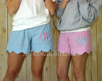 Seersucker Shorts, Women's Seersucker Scalloped Edge Monogrammed Shorts, Monogrammed Bridesmaid Gifts, Monogram Shorts
