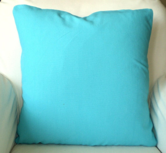 Solid Aqua Pillow Covers Decorative Throw by PillowCushionCovers