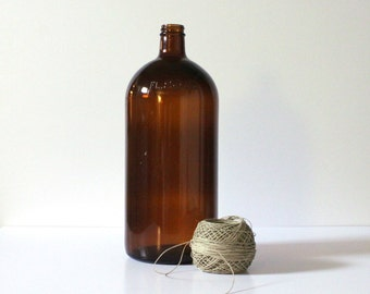 SOLD***Vintage Amber Glass Industrial Apothecary Bottle