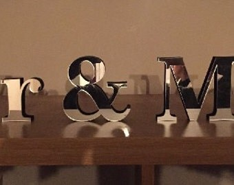Free Standing Mirror Finish Mr & Mrs Wedding Table Centre/table Name