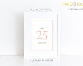 Printable Wedding Table Numbers | Classic | Brooke Collection | Reception Table Numbers | Custom Colors Available