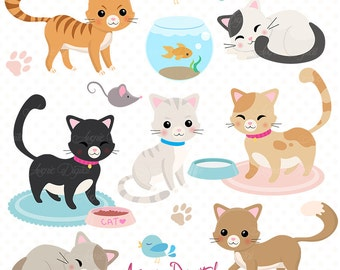 Cute Cat Clipart. Scrapbooking printables, Vector .eps and png Kitten clip art set. Sleeping and playing Kitty Cats graphics