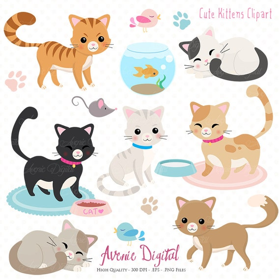 Cute Cat Clipart. Scrapbooking printables Vector .eps and png
