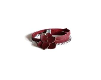 Dark red bracelet, flower bracelet, wrap bracelet, leather bracelet, flower jewelry, leather jewelry